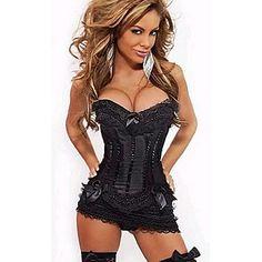 Sexy+Lady+Black+Lace+Women's+Halloween+Corset+Costume+–+USD+$+24.99
