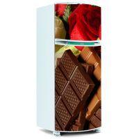 Adesivo para Geladeira Inteira - Chocolate com Rosa