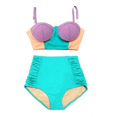Pastel Midkini Tops Top and Mint Roughed High Waist Waisted Retro... ($40) ❤ liked on Polyvore featuring swimwear e bikinis