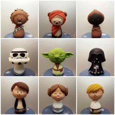These Awesome Kokeshi Star Wars Cupcakes were made by Buns In The Oven… Star Wars Cupcakes, Star Wars Cookies, Star Wars Cake, Star Wars Gifts, Star Wars Party, Fondant Figures, Clay Figures, Lego Star Wars, Aniversario Star Wars