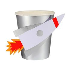 Meri Meri Space Rocket Cups!Perfect for a gathering of little space explorers, these party cups are created in shiny silver foil and come with a cool stick-on rocket in a matching finish!...