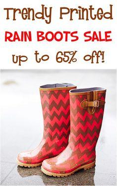 Trendy Printed Rain Boots Sale: up to 65% off! #rainboots #fashion #TheFrugalGirls
