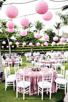 Wedding décor ideas - pink paper lanterns for an outdoor wedding Pink Lanterns, Paper Lanterns, Wedding Events, Wedding Reception, Party Wedding, Tea Party, Wedding Ideas, Paper Lantern Making, Party Fiesta
