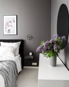 Bedroom Wall Art Black Panther poster on grey wall in cozy bedroom above bed and with purple flower Lilac Bedroom, Cozy Bedroom, Bedroom Wall, Bedroom Decor, Bed Room, Colorful Flowers, Purple Flowers, Lion Poster, Japanese Tree