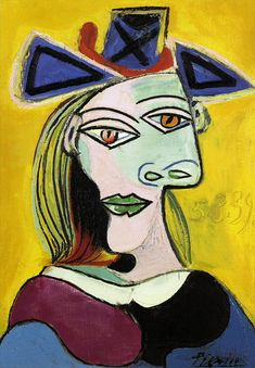 Head of a Woman with blue hat red ribbon. picasso - Google Search