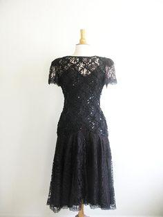 Vintage 1980's Black Lace Sequin Cocktail Dress
