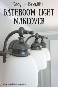 I love the finish on this bathroom light makeover. It looks brand new!