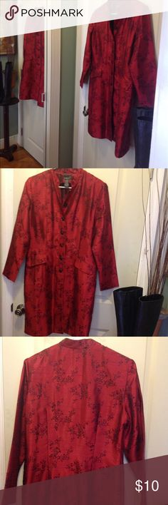 """Asian inspired long jacket 🌺 Lightweight Asian style long jacket by Scarlett made of 52%nylon and 48% polyester not lined  this is perfect for office and dining out bust 21""""x2 length 37"""" long sleeves one button broke but could be replaced with bottom button without compromising style Scarlette Jackets & Coats"""