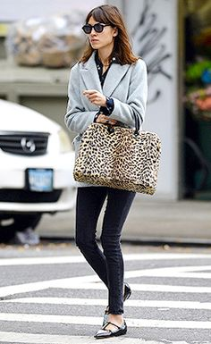 Alexa Chung in beautiful #gray coat and an statement piece, the #animal print purse.