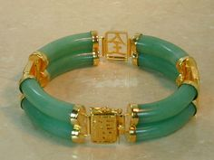 Oriental Burmese Jade Bracelet. Charms: Long Life, Happiness, and Good Luck.