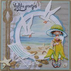 Trijntjes Kaarten: Vrolijke groetjes vanaf het strand Nautical Cards, Vintage Nautical, Nautical Theme, 3d Cards, Pop Up Cards, Love Cards, Marianne Design Cards, Beach Cards, Handmade Books