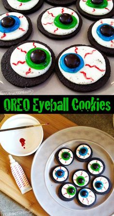 OREO eyeballs – DIY Halloween cookie treat – Easy to make and delicious to eat!… OREO eyeballs – DIY Halloween cookie treat – Easy to make and delicious to eat! OREO eyeballs – DIY Halloween cookie treat – Easy to make and delicious to eat! Diy Halloween Essen, Buffet Halloween, Bolo Halloween, Halloween Torte, Pasteles Halloween, Diy Halloween Treats, Halloween Eyeballs, Halloween Baking, Halloween Goodies