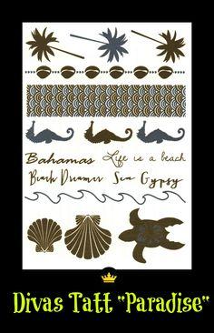 Tattoos Paradise www.forrealdivas.com Enviamos para todo o Brasil. Tatuagens temporárias metálicas prateadas e douradas.