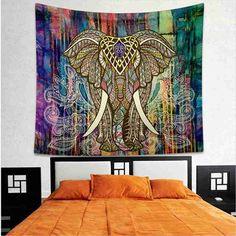 1pc Mandala Tapestry Aubusson Colored Printed Decor Indian Elephant Tapestry Religious Boho Wall Carpet LivingRoom Blanket Tapiz