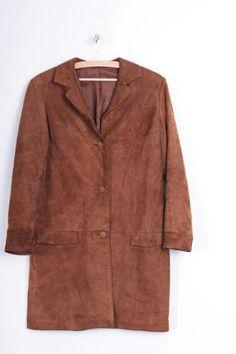 Aleksander Womens 38 M Coat Brown Leather Suede - RetrospectClothes