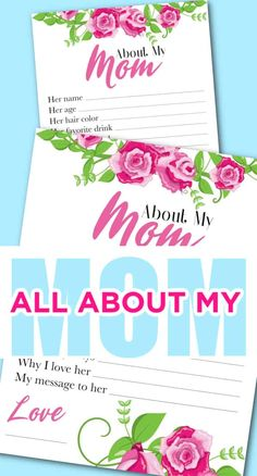 All about My Mom. mom questionnaire mother's day. Mother's Day Free Printable. Fun Questions about Mom.