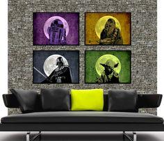 SW003MX4 - 4 Star wars vintage poster -Yoda, chewbacca, darth vader, r2 Droid, minimalist movie retro art print on Etsy, $53.62 AUD