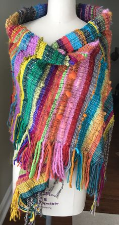 Tejidas a mano Saori mantón/abrigo/bufanda