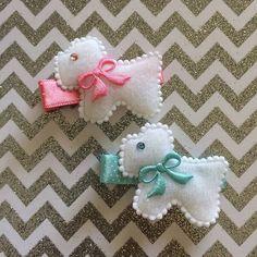 Doggie clippies #hairclips #doggieclippies #daintyhairaccessories #swarovskicrystals #pinkandblue