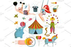 Circus Show Clip Art Vintage Set by Popmarleo Shop on @creativemarket