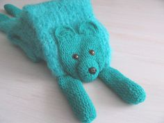 Turquoise bear, handmade long scarf, animal scarf, bear, teddy bear, crochet knitted scarf, wool scarves, for kids, for animal lovers - pinned by pin4etsy.com