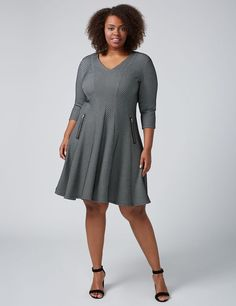 5c0b54f741e 3 4 Sleeve Textured Fit  amp  Flare Dress With Zipper Detail  afflink Fit