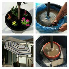 Our Homemade Pool Enclosure Patio Umbrella Container Stand. We Used Our 9u0027  Umbrella,
