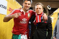 The real Mr Bond...Daniel Craig hijacked the celebrations, much to the delight of Mike Phillips and the rest of the star-struck Lions - British & Irish Lions 2013: The best of the off-field action in Australia #BritishandIrishLions #rugby