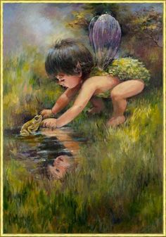 Baby Faerie...So cute...#faerie #fairy #fantasy #art #green