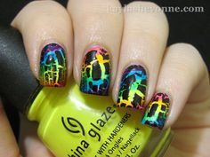 Rainbow Crackle nails