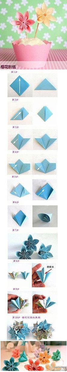tuto fleurs papier origami.