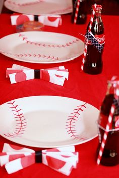 Modern Baseball Party: DIY baseball plates made with permanent marker and baked to set the ink