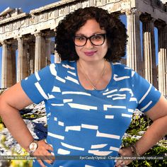 Athena visits Greece wearing her new bold designer glasses by Salt.  Eye Candy - Zeus himself would shop here for the finest European Eyewear Fashion! Eye Candy Optical Cleveland – The Best Glasses Store! (440) 250-9191 - Book an Eye Exam Online or Over the Phone  www.eye-candy-optical.com