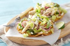 Chicken & Feta Salad Tostadas — In our easy Mexican salpicon recipe, a shredded chicken and feta cheese salad is drizzled with dressing and served on tostada shells for a fresh summer appetizer idea. Kraft Recipes, Mexican Dishes, Mexican Food Recipes, Mexican Cooking, Salpicon Recipe, Cooking Recipes, Healthy Recipes, Ww Recipes, What's Cooking