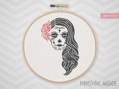 ROSE SKULL cross stitch pattern dia de los par PineconeMcGee