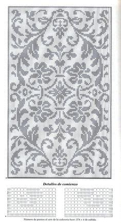 Филейное вязание: Большая салфетка с растительными узорами