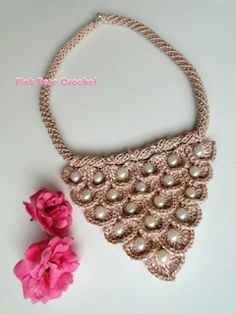 \ PINK ROSE CROCHET /: Colar Dasha Crochet Crocodile Stitch Collar Bib