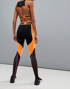 Womens Workout Outfits, Sporty Outfits, Athletic Outfits, Sport Fashion, Fitness Fashion, Puma Outfit, Estilo Fitness, Orange Leggings, Sports Leggings
