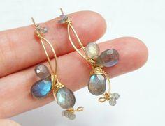 Labradorite Earrings Grey Gemstone Jewelry Large by Yukojewelry