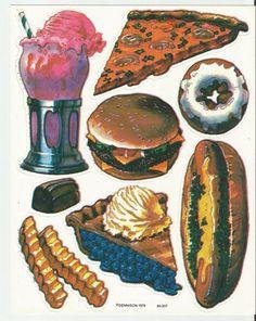 One Sheet Sticker Junk Food Ice Cream Float Fries Pizza Dennison 1979 Vintage #Dennison