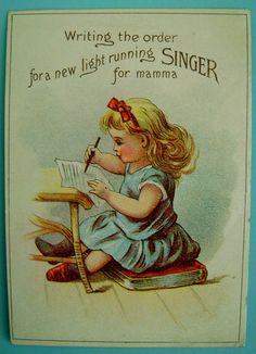 Vintage Antique 1880's Advertising Trade Card Singer Sewing Machines