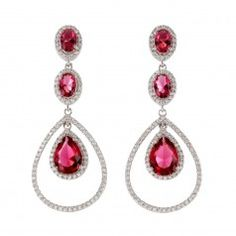 Sterling Silver Created Ruby & Cubic Zirconia Pear & Oval Drop Earrings