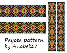 Colorful peyote pattern ethnic style bracelet by Anabel27shop