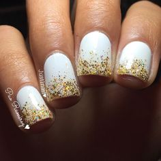 white nude nails with glitter ombr