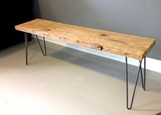 """Reclaimed Wood Bench with Hairpin Legs $170. Free Shipping and Lifetime Warranty!  This listing is for a beautifully handmade reclaimed wood bench with mid-century modern hairpin legs. The dimensions are: 36""""L x 11.5"""" W x 18""""H. The wood is reclaimed, old growth douglas fir (anywhere from 150-200 years old!)."""
