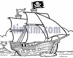 Free drawing of A Pirate Ship 3 BW from the category Boat & Sail ...