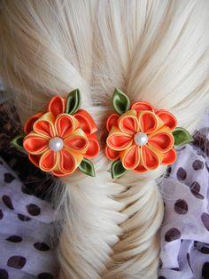 kanzashi flower, a set kanzashi hair clip, flower, kanzashi, hair accesories, kanzashi hairclip, satin flower, orange flower by CarmelasDesigns on Etsy