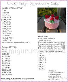 amigurumi çilekli pasta yapılışı, amigurumi free pattern strawberry cake,