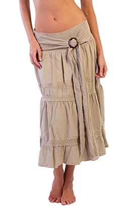 Cotton Natural Women's Wood Buckle Embroidery Skirt (Medium, Beige) >>> Find out more about the great product at the image link.