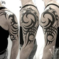 Search inspiration for a Tribal tattoo. Tribal Hand Tattoos, Tribal Dragon Tattoos, Tribal Wolf Tattoo, Native Tattoos, Tribal Shoulder Tattoos, Mens Shoulder Tattoo, Tribal Tattoo Designs, Dragon Tattoo Chest, Badass Tattoos
